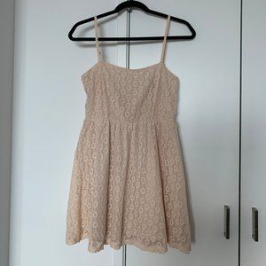 Cute Laced Peach Mini Sun Dress A-line Small